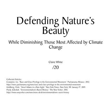 Defending Naturre's Beauty