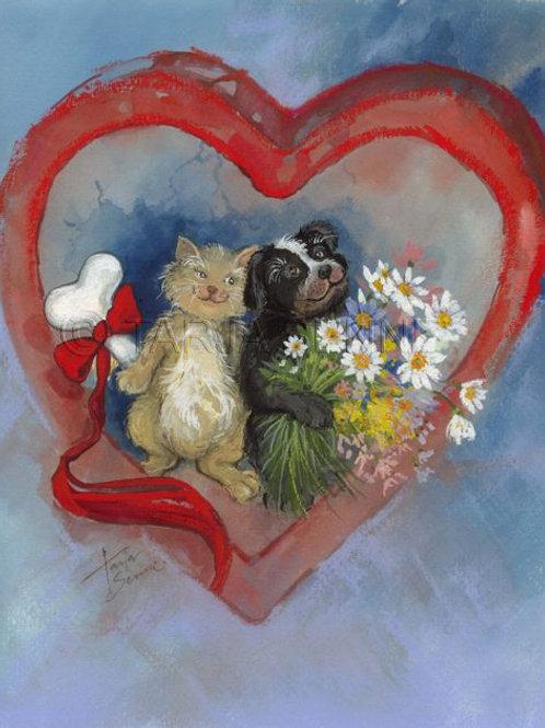 Kortti, card SE23 Kissa ja koira