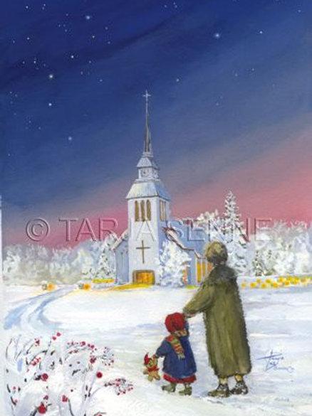 Kortti, Card, SE32 Lapsi ja äiti Kuusamon kirkkotiellä. Plankko