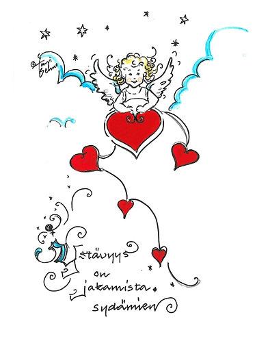 Kortti, card SE188 Ystävyys on jakamista sydämien