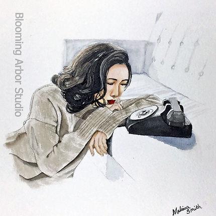 Waiting_8x8_Watercolor