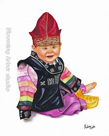 Sweet Smile hanbok portrait_8x10 Watercolor