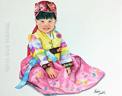 Sparkling Eyes hanbok portrait_8x10 watercolor