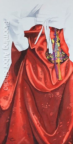 Red Hanbok_7x13 Watercolor