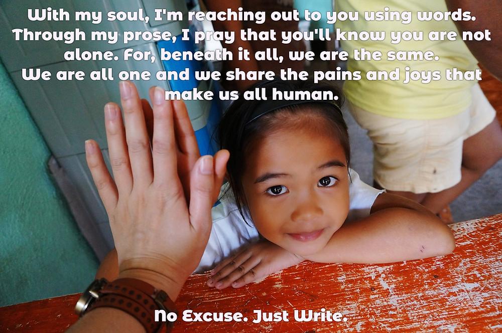 child touching a hand