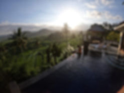 pool, sunset, view, rice fields, terrace