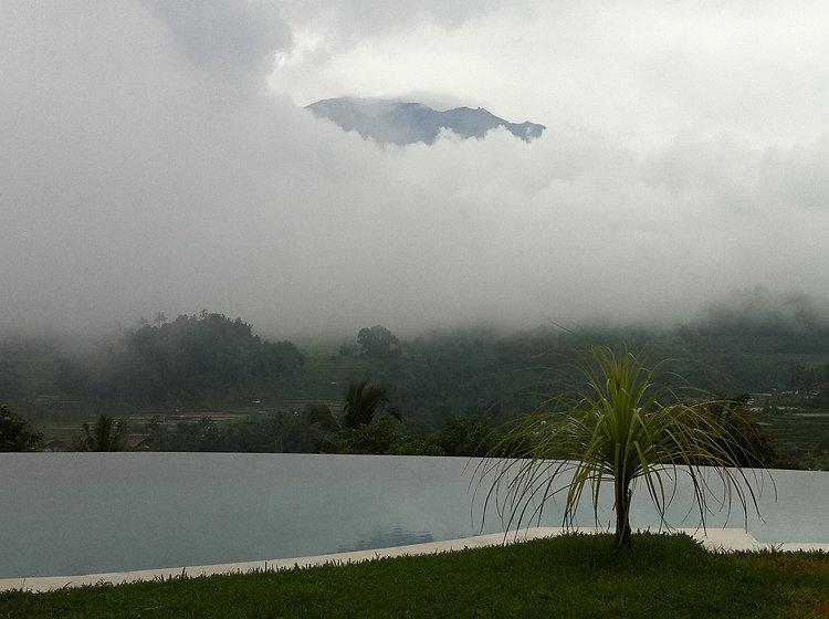 Mt. Agung throug the clouds