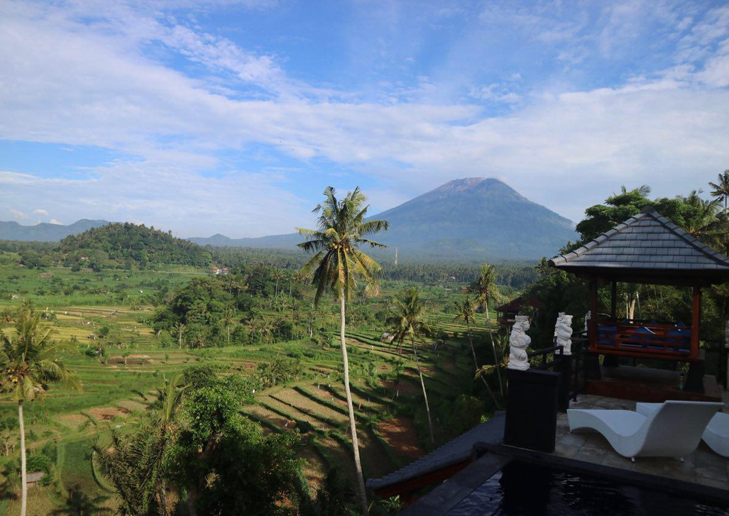 Magnificent view of rice fields and the volcano.