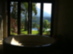 The view through mirror glass in the master bathroom
