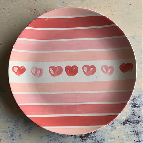 Stripes and Thumbprint Heart Dinner Plate
