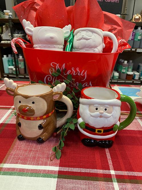 Glaze Reindeer And Santa MUGS