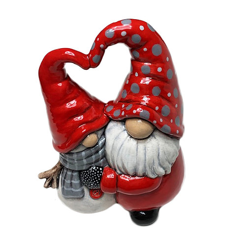 Gnome hugging Snowman