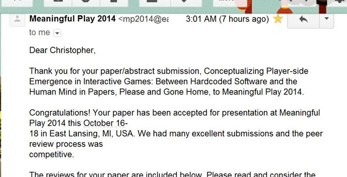 Meaningful Play 2014: Accepted!