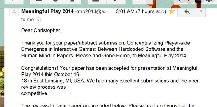 Facebook - Paper accepted to Meaningful Play 2014 in Michigan!  Just got back fr