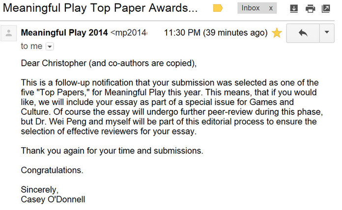 Top Paper Award at Meaningful Play 2014!