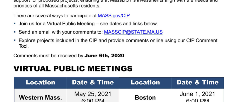 MASSDOT WANTS YOUR INPUT ON PROPOSED PROJECTS; ANNOUNCES VIRTUAL PUBLIC MEETINGS