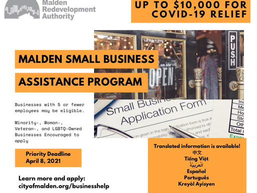 MALDEN SMALL BUSINESS ASSISTANCE PROGRAM ACCEPTING APPLICATIONS