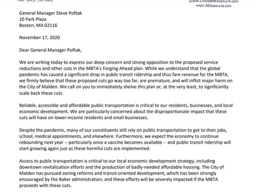 Letter Opposing MBTA Service Cuts