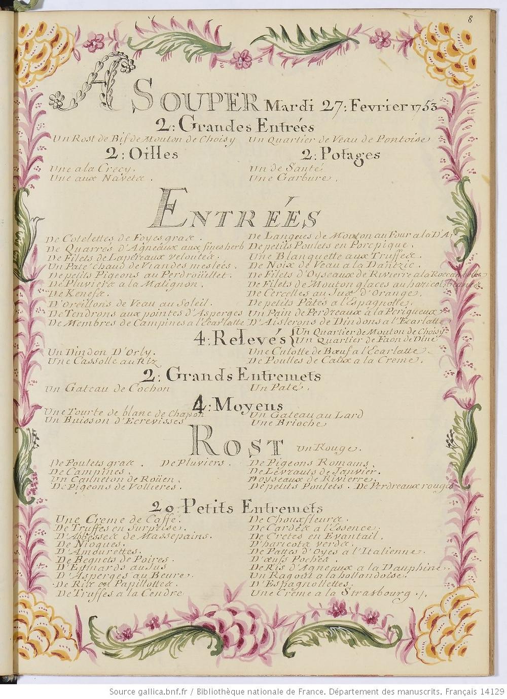 Royal Menu 27 February 1753