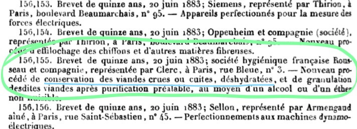 Brevet (Patent), Societe Hygienique francaise, 1883