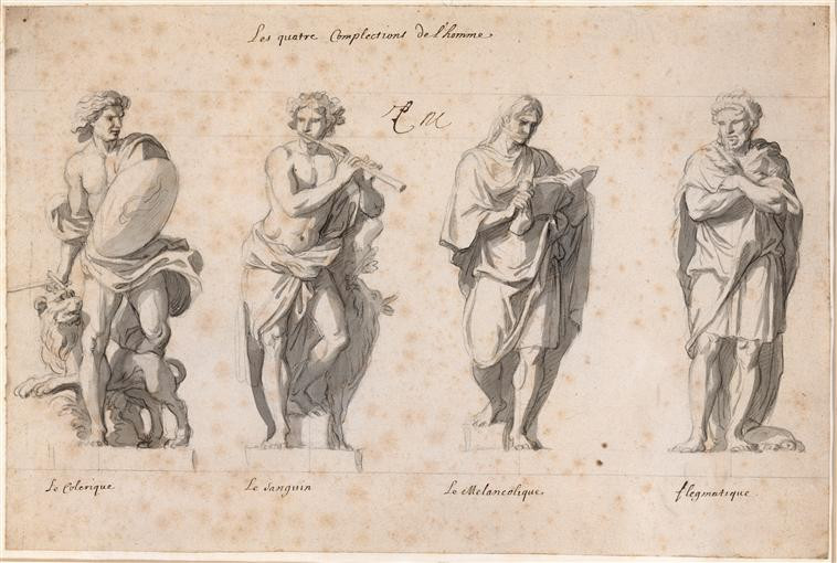 Charles Le Brun, The Four Temperaments, sketch for La Grande Commmande, c. 1675
