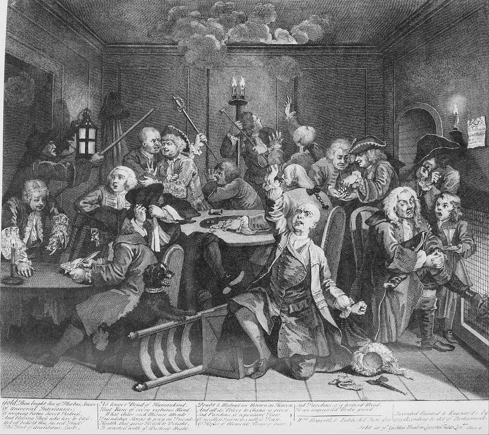 William Hogarth, A Rake's Progress, Plate 6, Scene in a Gaming House, 1735