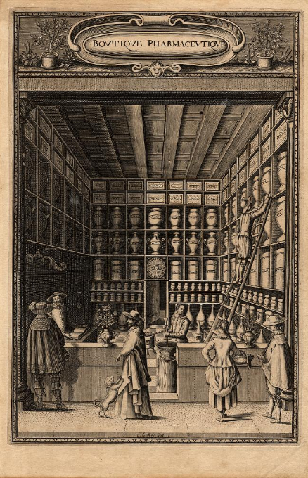 C. Le. Roy, frontispiece, Boutique Pharmaceutique ou Antidotaire, 1637