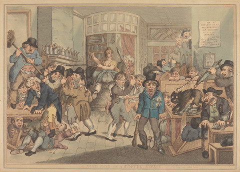 Thomas Rowlandson, A Mad Dog in a Coffee House, 1809, Yale Center for British Art