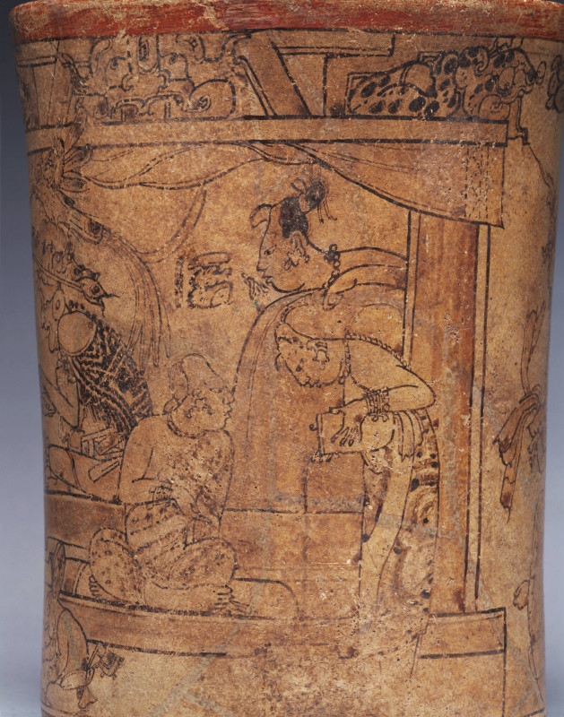 Maya woman pouring chocolate to froth it. Vase, c. 750AD, Princeton University Art Museum