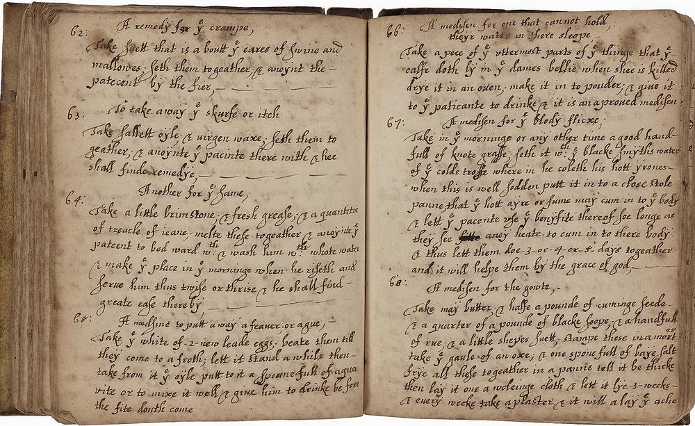 Margaret Baker, folio 66 verso & 67 recto, Folger Shakespeare Library