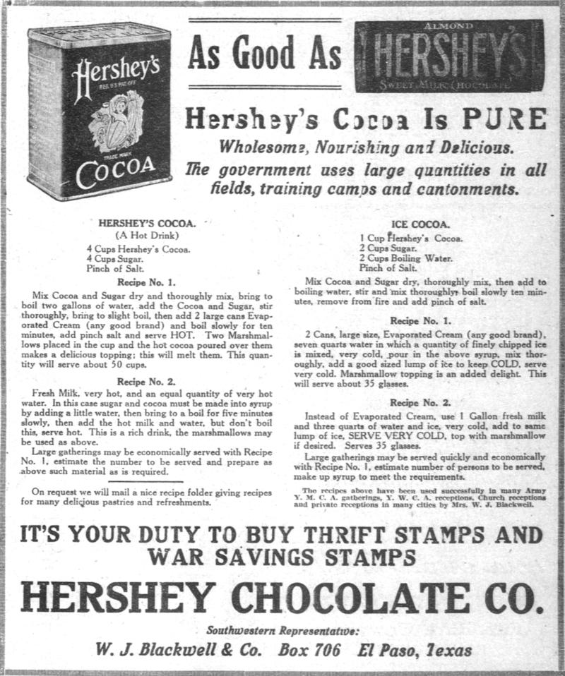 Hershey's Cocoa Ad, El Paso herald, (El Paso, Tex.), 13 July 1918