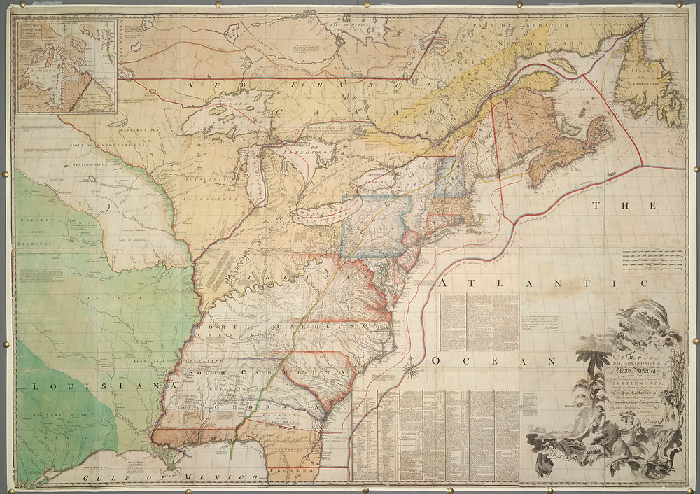 Jefferys & Fadden, Map of the British Colonies in North America, 1775
