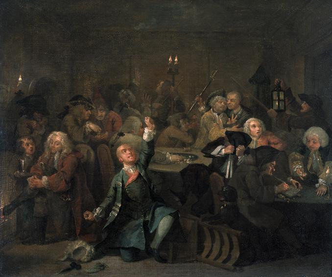 William Hogarth, Rake's Progress, Plate 6, The Gaming House, 1733