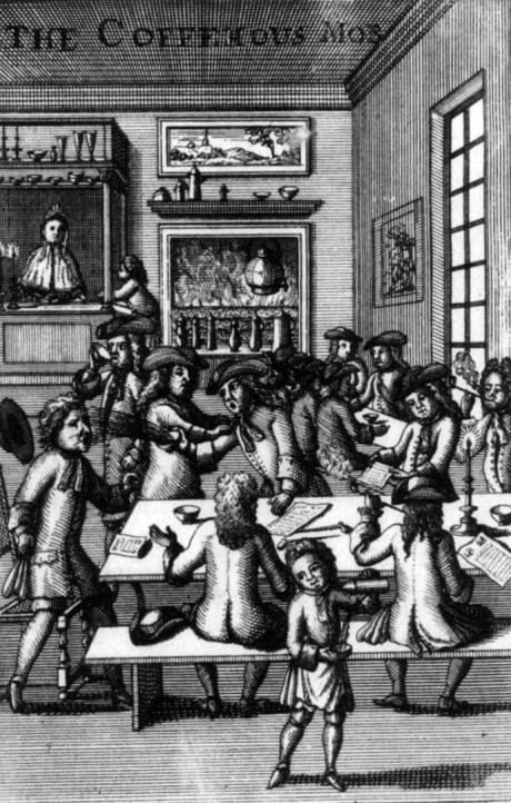 Edward (Ned) Ward, The Coffee House Mob, frontispiece to Part IV of Vulgus Britannicus, or the British Hudibras (London, 1710).