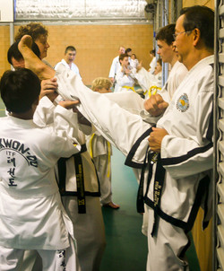 Sabum Jackson stretching at a Mackay class