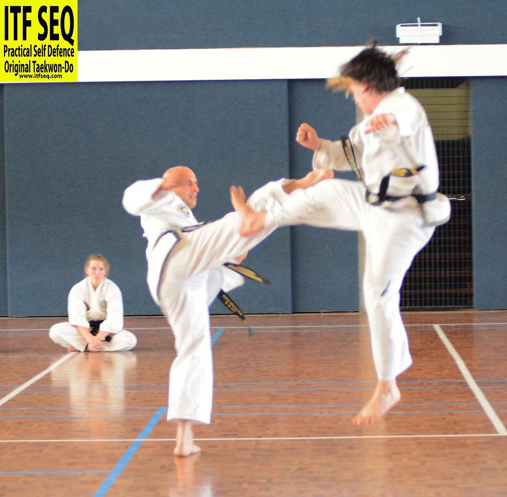 Jumping sparring block - taekwon-do
