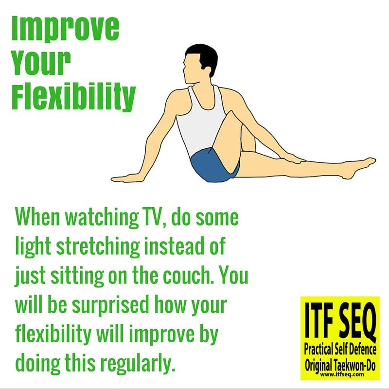Training tip showing a man sitting on the floor stretching.