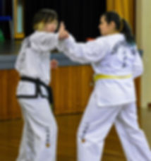 Instructor teaching a student how to block