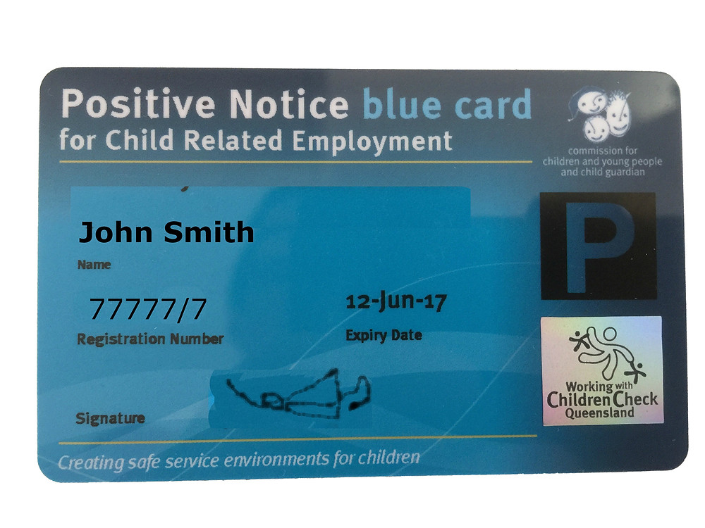 Queensland Government Blue Card Sample