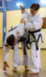Taekwondo black belt practicing self defence techniques