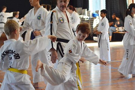 Taekwon-Do Students training in Bundaberg as part of the Chermside Taekwon-Do