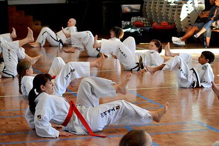 Chermside Taekwon-Do International Taekwon-Do Federation students exercising during class Brisbane