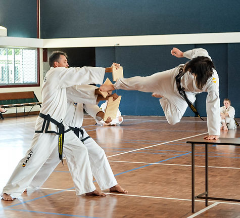 Chermside Taekwon-Do International Taekwon-Do Federation Brisbane Instructor demosntrating double downward knife hand strike throuhg two stacks of roofing tiles