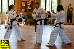 Instructor Dale demonstrating combination breaking techniques