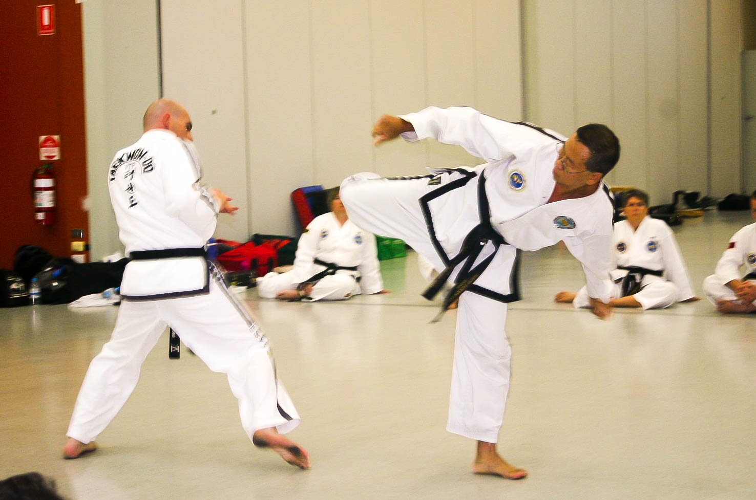 Sabum Jackson sparring with Sabum Greg during 5th Dan testing