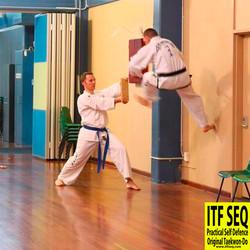 Instructor Dale demonstrating a reflex kick