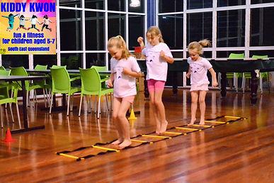 Chermside Kiddy Kwon class in Brisbane - balancing exercise is part of Kiddy Kwon South East Queensland