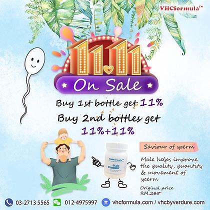 11 Nov Buy 2nd bottle Male get 11%+11% OFF