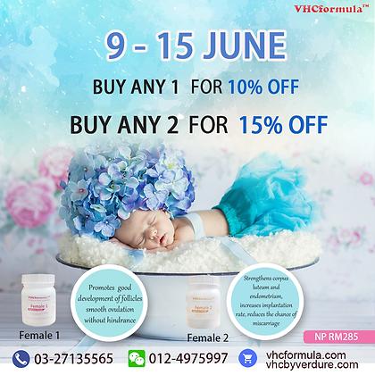 JUNE 9-15 Buy 1 bottle of Female 1 / Female 2 get 10% off