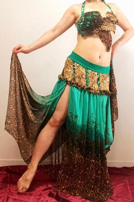 Zaynab オリエンタル衣装 エメラルドグリーン x 豹柄